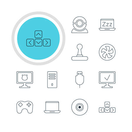 minicomputer: Vector Illustration Of 12 Laptop Icons. Editable Pack Of Gamepad, Mainframe, Serial Bus And Other Elements.