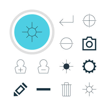 focalize: Vector Illustration Of 12 Interface Icons. Editable Pack Of Sunshine, Snapshot, Cogwheel And Other Elements.