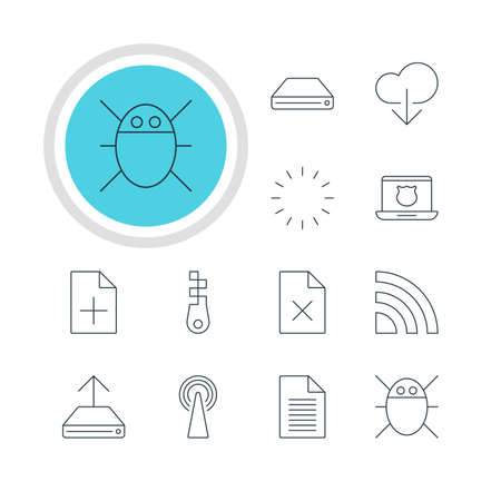 infected: Vector Illustration Of 12 Web Icons. Editable Pack Of Hdd Sync, Computer Virus, Router And Other Elements. Illustration