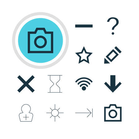 tabulation: Vector Illustration Of 12 Interface Icons. Editable Pack Of Sunshine, Tabulation Button, Register Account And Other Elements.