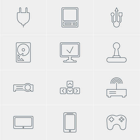 Vector Illustration Of 12 Notebook Icons. Editable Pack Of Router, Keypad, Socket And Other Elements.