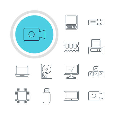 Vector Illustration Of 12 Notebook Icons. Editable Pack Of Movie Cam, Hard Drive Disk, Flash Drive And Other Elements. Illustration