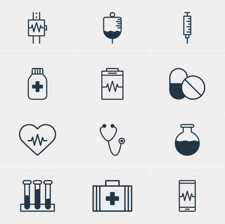soundness: Vector Illustration Of 12 Medicine Icons. Editable Pack Of Medicine Jar, Medical Bag, Experiment Flask And Other Elements.