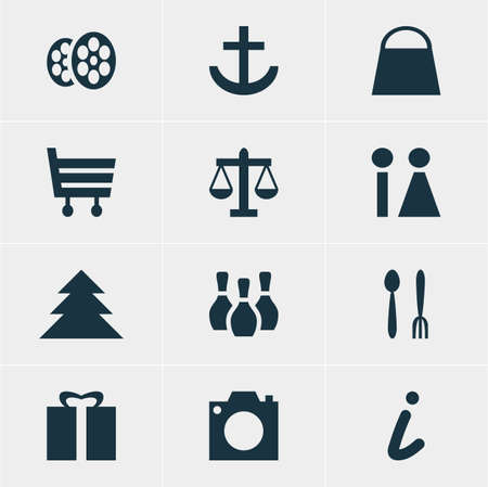 Vector Illustration Of 12 Map Icons. Editable Pack Of Photo Device, Present, Toilet And Other Elements.