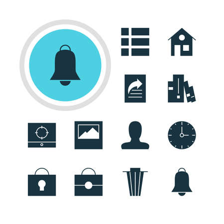 Vector Illustration Of 12 Online Icons. Editable Pack Of Bookshelf, Account, Notification And Other Elements.