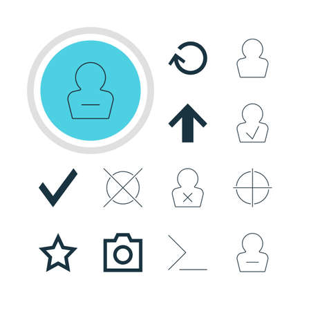 Vector Illustration Of 12 Interface Icons. Editable Pack Of Renovate, Approved Profile, Startup And Other Elements.