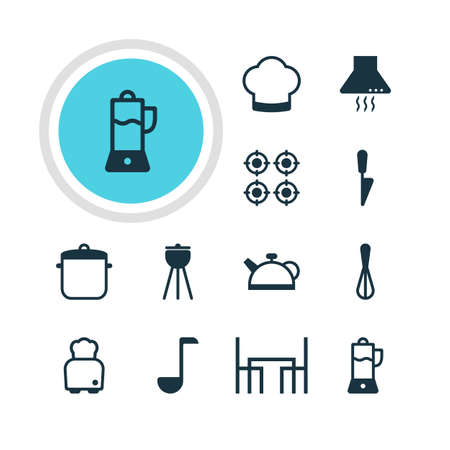 housewares: Vector Illustration Of 12 Restaurant Icons. Editable Pack Of Barbecue, Extractor Appliance, Teakettle And Other Elements. Illustration