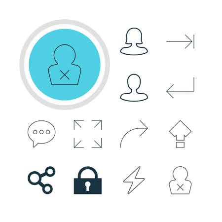 tabulation: Vector Illustration Of 12 Interface Icons. Editable Pack Of Man Member, Tabulation Button, Female User And Other Elements. Illustration