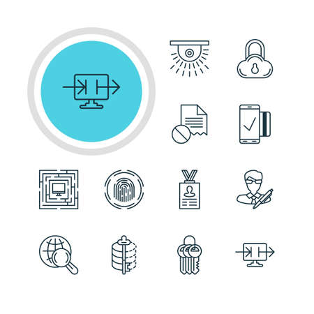 Vector Illustration Of 12 Web Safety Icons. Editable Pack Of Finger Identifier, Safe Storage, Copyright And Other Elements. Illustration