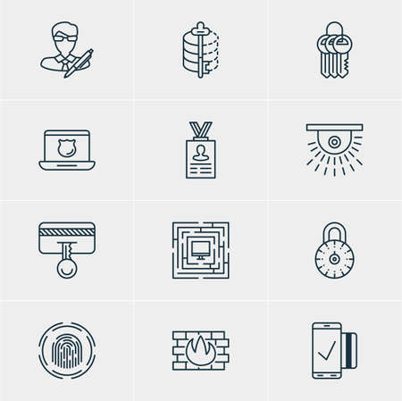 Vector Illustration Of 12 Data Protection Icons. Editable Pack Of System Security, Account Data, Key Collection And Other Elements.