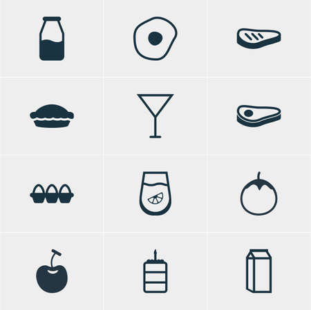 flan: Vector Illustration Of 12 Cooking Icons. Editable Pack Of Egg Container, Flan, Martini And Other Elements.