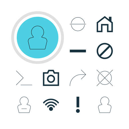 eject: Vector Illustration Of 12 User Icons. Editable Pack Of Snapshot, Remove User, Cordless Connection And Other Elements. Illustration