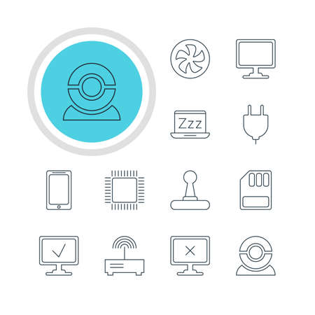 minicomputer: Vector Illustration Of 12 Notebook Icons. Editable Pack Of Microprocessor, Storage, Game Controller And Other Elements. Illustration