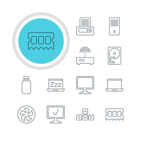 minicomputer: Vector Illustration Of 12 Laptop Icons. Editable Pack Of Printer, Laptop, Router And Other Elements.