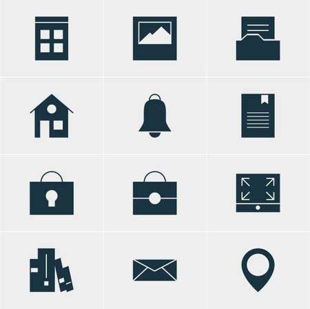 apartment bell: Vector Illustration Of 12 Internet Icons. Editable Pack Of House, Notification, Bookshelf And Other Elements. Illustration