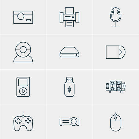 Vector Illustration Of 12 Hardware Icons. Editable Pack Of Dvd Drive, Photography, Sound Recording And Other Elements. Stock Vector - 75342916