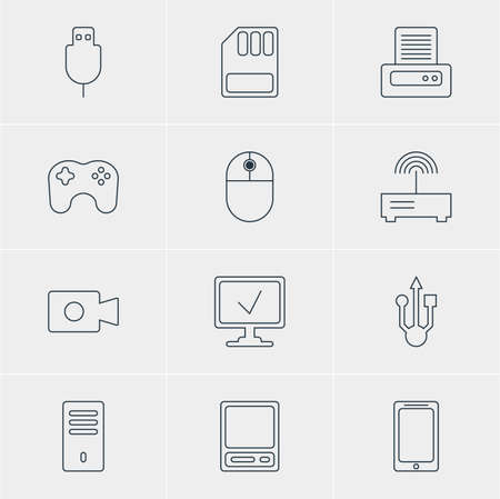 hub computer: Vector Illustration Of 12 Computer Icons. Editable Pack Of Pda, Printer, Smartphone And Other Elements.