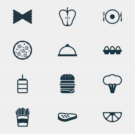 crispy: Vector Illustration Of 12 Meal Icons. Editable Pack Of Jonagold, Egg Container, Lime And Other Elements.