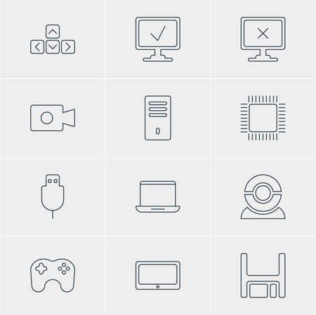 serial: Vector Illustration Of 12 Laptop Icons. Editable Pack Of Serial Bus, Online Computer, Mainframe And Other Elements.