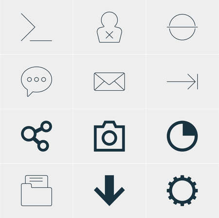 tabulation: Vector Illustration Of 12 User Icons. Editable Pack Of Tabulation Button, Envelope, Stopwatch And Other Elements.