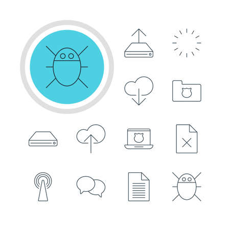 minicomputer: Vector Illustration Of 12 Web Icons. Editable Pack Of Secure Laptop, Hard Drive Disk, Cloud Download And Other Elements.