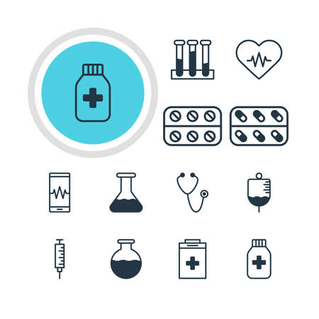cardiograph: Vector Illustration Of 12 Medicine Icons. Editable Pack Of Antibody, Exigency, Pills And Other Elements. Illustration