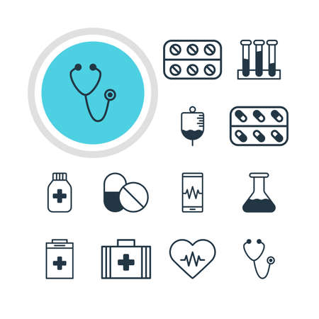 cardiograph: Vector Illustration Of 12 Medical Icons. Editable Pack Of Antibody, Heart Rhythm, Medicine And Other Elements.