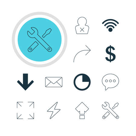 displacement: Vector Illustration Of 12 Interface Icons. Editable Pack Of Message, Displacement, Cordless Connection And Other Elements.