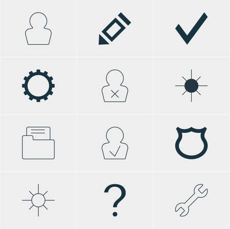 confirm: Vector Illustration Of 12 Interface Icons. Editable Pack Of Confirm, Wrench, Avatar And Other Elements.