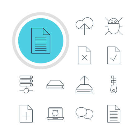 Vector Illustration Of 12 Network Icons. Editable Pack Of Cloud Download, Hard Drive Disk, Note And Other Elements.