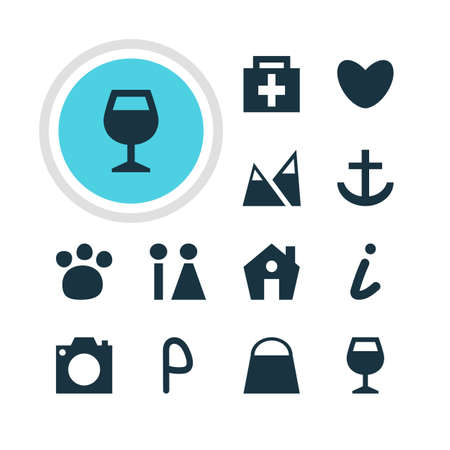 wine road: Vector Illustration Of 12 Check-In Icons. Editable Pack Of Home, Photo Device, Drugstore And Other Elements.