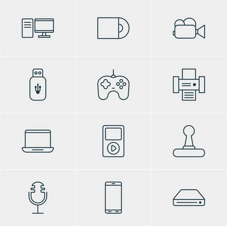 Vector Illustration Of 12 Hardware Icons. Editable Pack Of Joypad, Computer, Camcorder And Other Elements.
