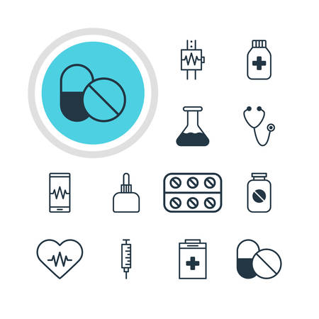 doctor tablet: Vector Illustration Of 12 Medicine Icons. Editable Pack Of Flask, Heart Rhythm, Vaccinator And Other Elements.