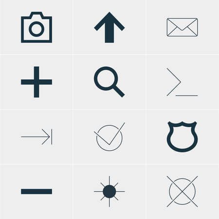 expel: Vector Illustration Of 12 User Icons. Editable Pack Of Envelope, Seek, Plus And Other Elements.