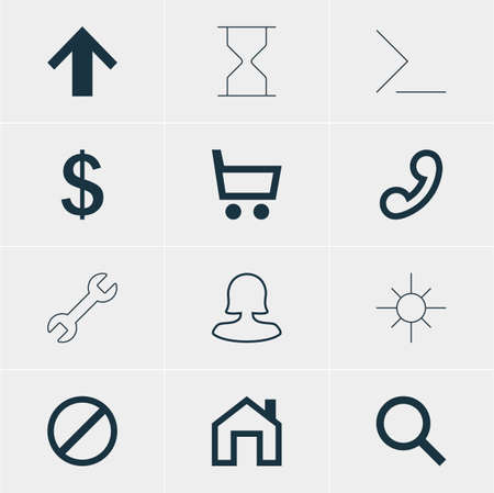Vector Illustration Of 12 Interface Icons. Editable Pack Of Sunshine, Mainpage, Wrench And Other Elements.