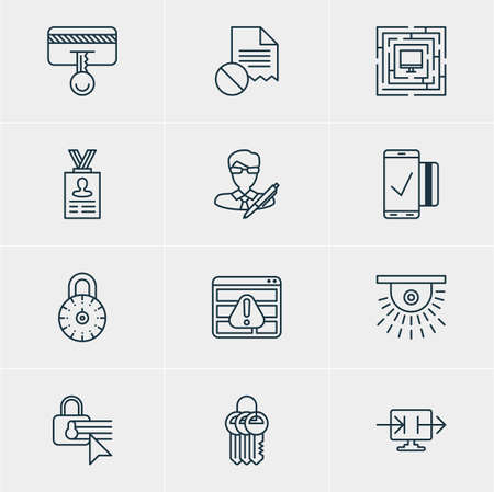 Vector Illustration Of 12 Protection Icons. Editable Pack Of System Security, Data Error, Confidentiality Options And Other Elements.