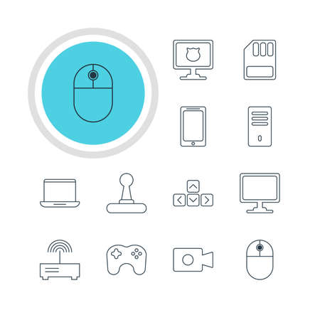 minicomputer: Vector Illustration Of 12 Laptop Icons. Editable Pack Of Movie Cam, Game Controller, Router And Other Elements.
