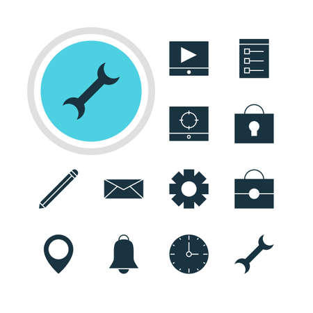 Vector Illustration Of 12 Online Icons. Editable Pack Of Play Button, Settings, Keyhole And Other Elements. Иллюстрация