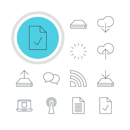 minicomputer: Vector Illustration Of 12 Internet Icons. Editable Pack Of Information Load, Data Upload, Waiting And Other Elements. Illustration
