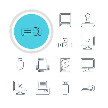 closed circuit television: Vector Illustration Of 12 Computer Icons. Editable Pack Of Access Denied, Screen, Presentation And Other Elements.