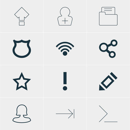 tabulation: Vector Illustration Of 12 User Icons. Editable Pack Of Startup, Alert, Tabulation Button And Other Elements. Illustration