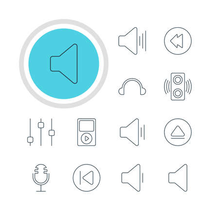 lag: Vector Illustration Of 12 Melody Icons. Editable Pack Of Audio, Decrease Sound, Reversing And Other Elements.