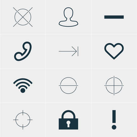 tabulation: Vector Illustration Of 12 User Icons. Editable Pack Of Alert, Cordless Connection, Minus And Other Elements. Illustration