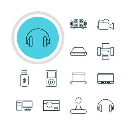 cinema screen: Vector Illustration Of 12 Device Icons. Editable Pack Of Memory Storage, Photocopier, Photography And Other Elements.