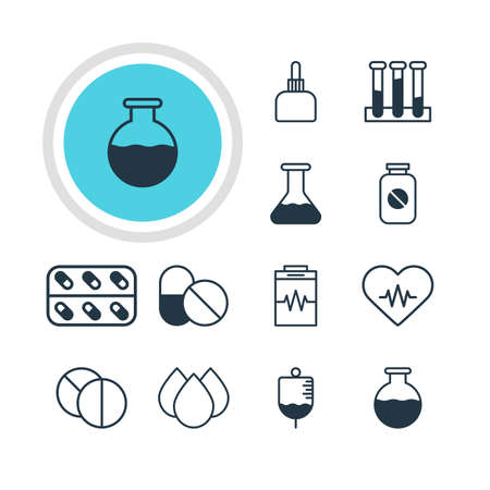 Vector Illustration Of 12 Medicine Icons. Editable Pack Of Treatment, Heart Rhythm, Medicament Pitcher And Other Elements. Ilustração