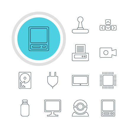Vector Illustration Of 12 Computer Icons. Editable Pack Of Tablet, Flash Drive, Movie Cam And Other Elements.