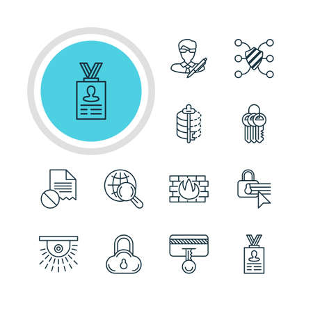 encode: Vector Illustration Of 12 Data Icons. Editable Pack Of Encoder, Network Protection, Data Error And Other Elements. Illustration