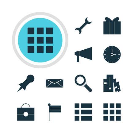 international internet: Vector Illustration Of 12 Web Icons. Editable Pack Of Letter, Gift, Bookshelf And Other Elements. Illustration