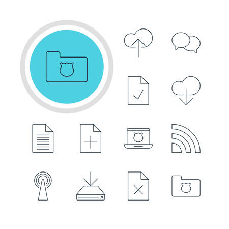 minicomputer: Vector Illustration Of 12 Web Icons. Editable Pack Of Data Upload, Router, Note And Other Elements.