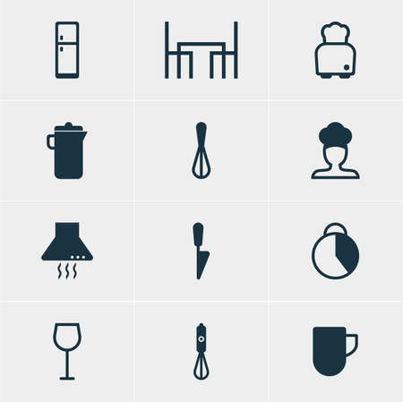 housewares: Vector Illustration Of 12 Cooking Icons. Editable Pack Of Handmixer, Corolla, Dinner Table Elements. Illustration